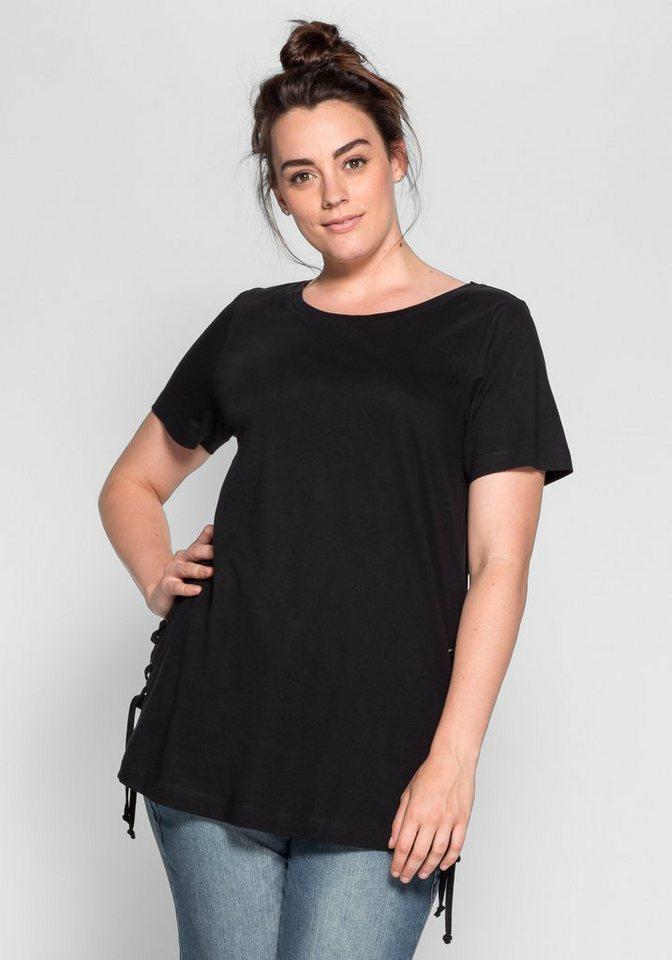 sheego Casual Longshirt mit seitlicher Kordelschnürung in schwarz