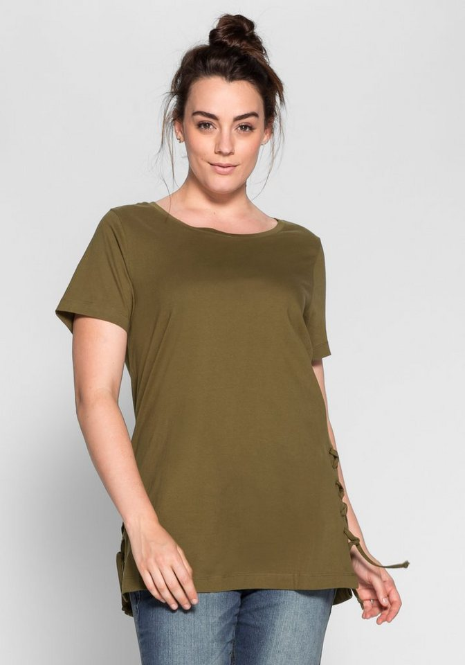 sheego Casual Longshirt mit seitlicher Kordelschnürung in lorbeer