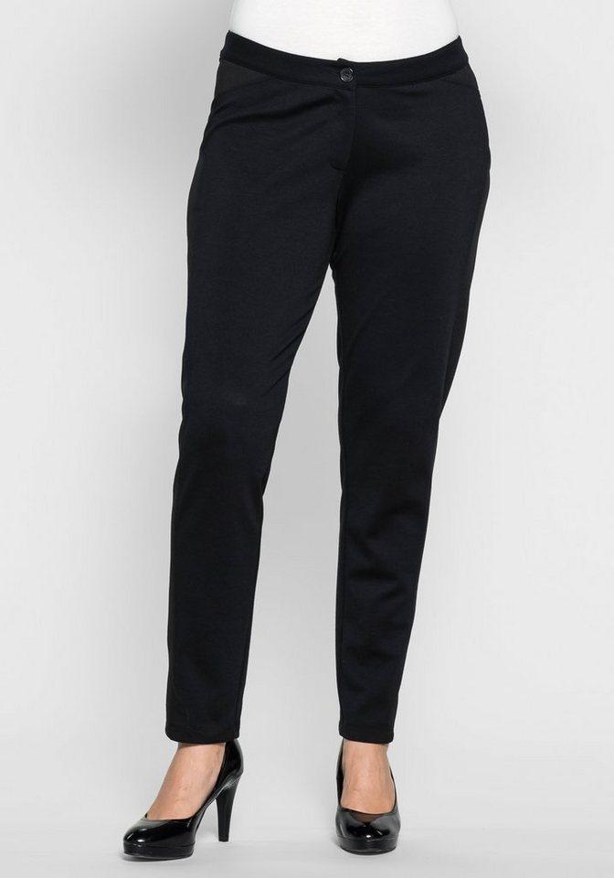 sheego Style Schmale Jerseyhose mit seitlichen Details in schwarz