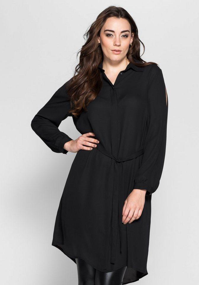 sheego Anna Scholz Hemdblusenkleid mit Cut-outs in schwarz