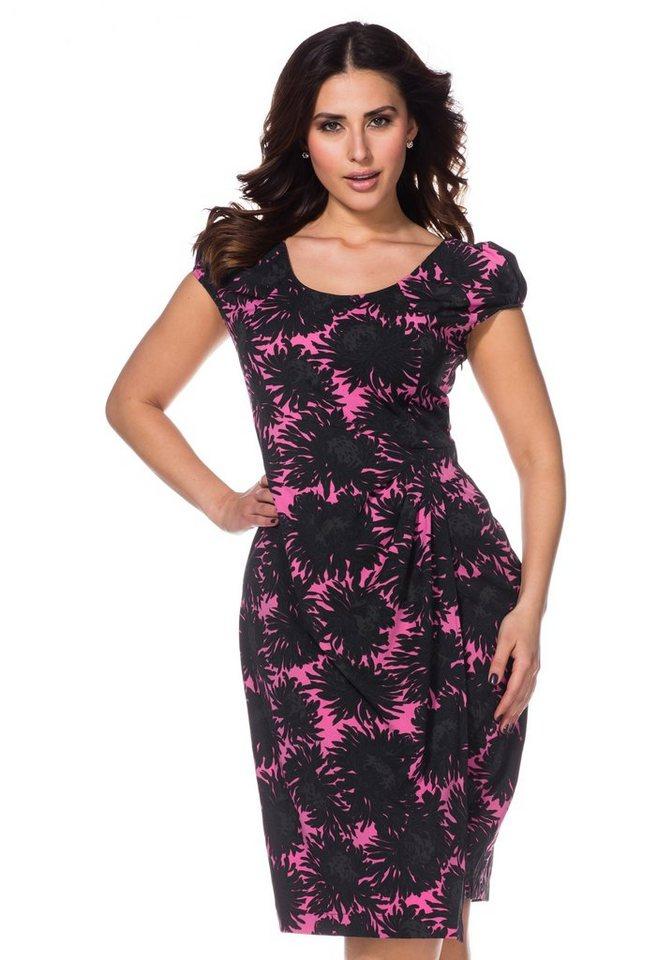 sheego Anna Scholz Kleid mit Wickelelement in Pink-Schwarz Blüte