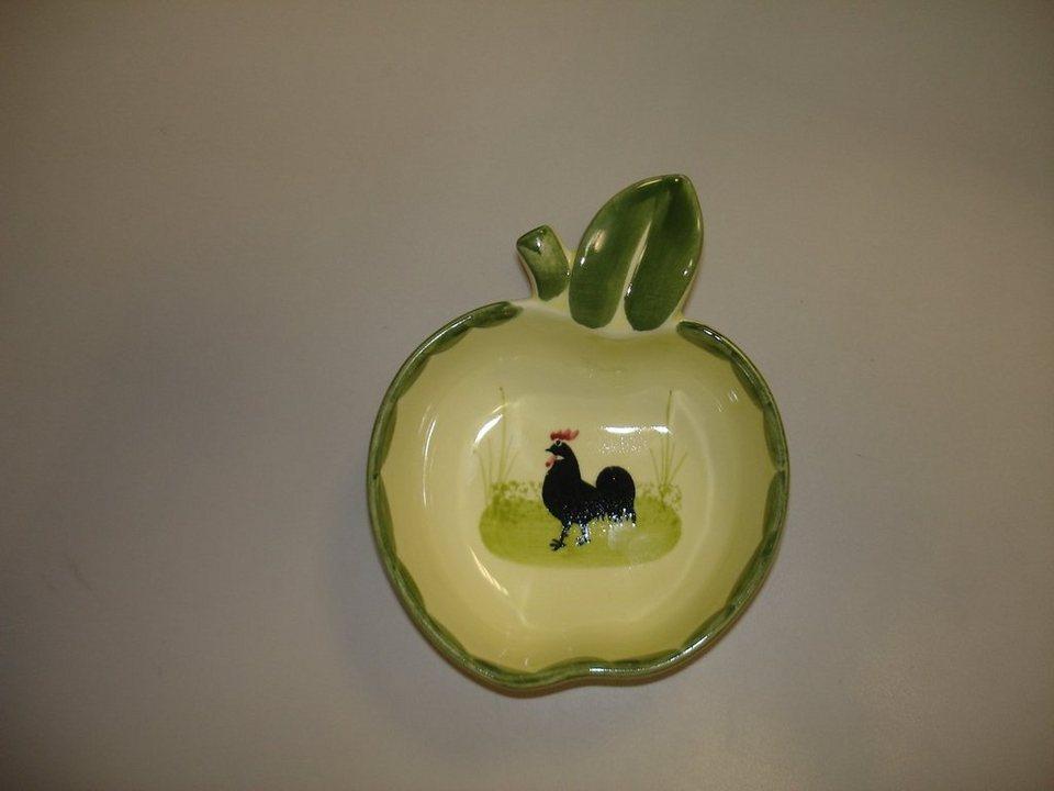 Zeller Keramik Schälchen Apfelform »Hahn und Henne« in Mehrfarbig