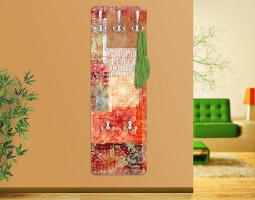 Bilderwelten Garderobe Vintage 139x46x2cm »Schriftmuster« in Rot