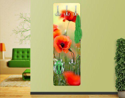 Bilderwelten Wandgarderobe Blumen 139x46x2cm »Roter Sommermohn«