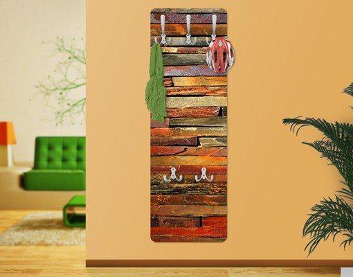 Bilderwelten Wandgarderobe 139x46x2cm »Holzoptik Bretterstapel« in Braun