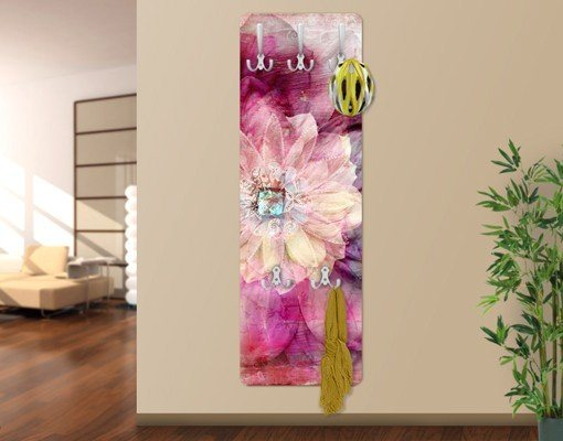 Bilderwelten Wandgarderobe Blumen 139x46x2cm »Grunge Flower« in Pink