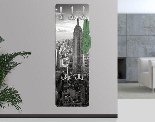 Bilderwelten Wandgarderobe 139x46x2cm »Manhattan Skyline« in Grau