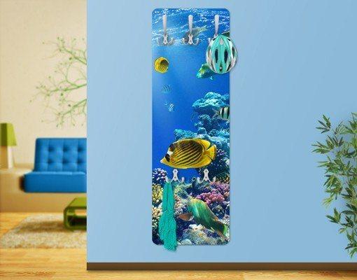 Bilderwelten Wandgarderobe 139x46x2cm »Underwater Lights« | Flur & Diele > Garderoben > Garderobenhaken | Weiß - Matt | Holz - Faserplatte - Metall | Bilderwelten