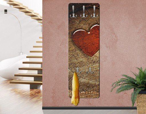 Bilderwelten Wandgarderobe 139x46x2cm »Holzoptik Natural Love« in Braun