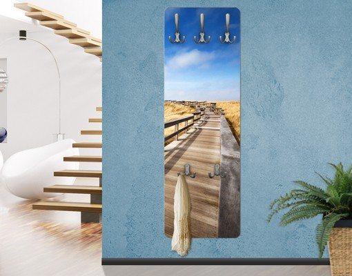 Bilderwelten Wandgarderobe 139x46x2cm »Dünenweg an der Nordsee auf Sylt« in Braun