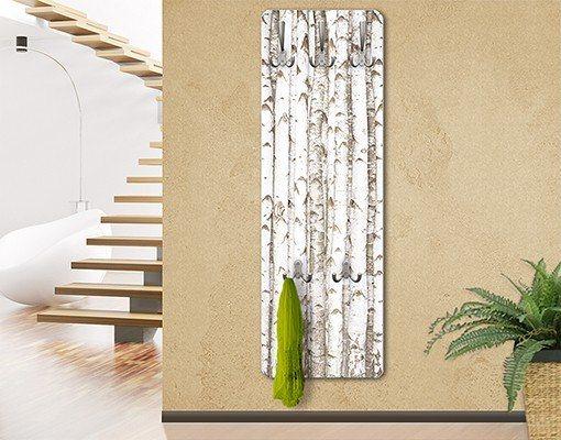 Bilderwelten Wandgarderobe 139x46x2cm »Holzoptik No.Yk 15 Birkenwand« in Weiß