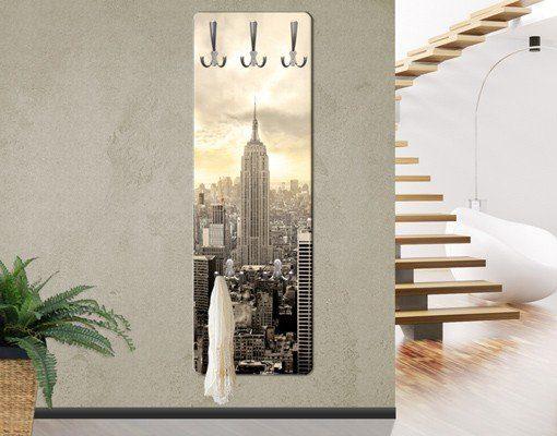 Bilderwelten Wandgarderobe 139x46x2cm »Manhattan Dawn«