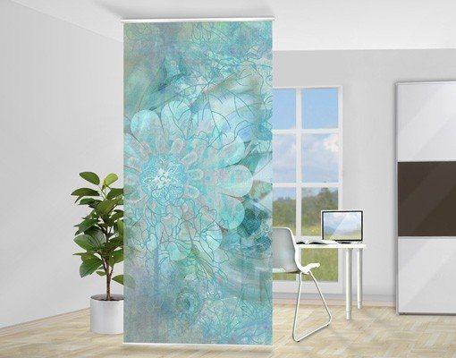 Bilderwelten Raumteiler 250x120cm »Winterblumen« in Blau