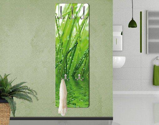 Bilderwelten Wandgarderobe Blumen 139x46x2cm »Morgentau« in Grün