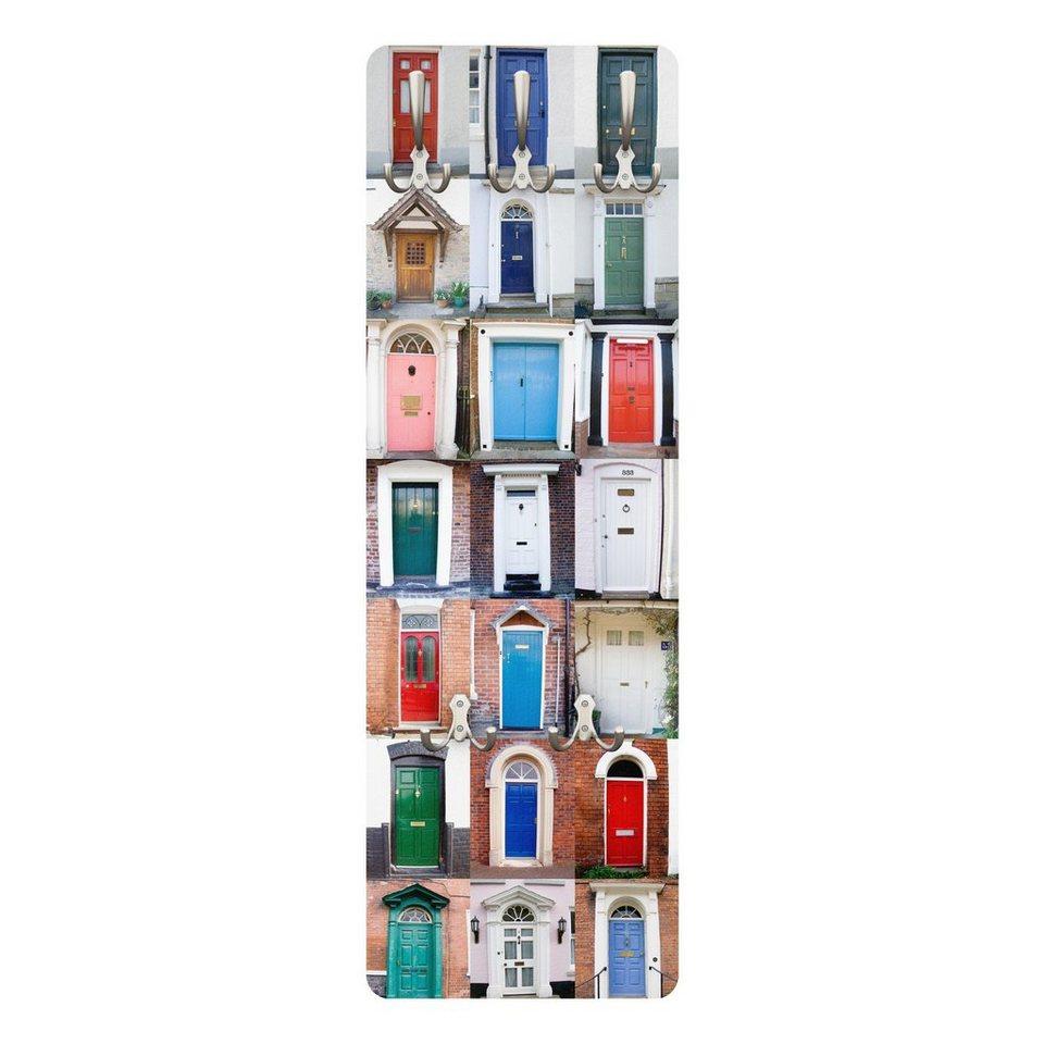 Bilderwelten Wandgarderobe 139x46x2cm »100 Türen« in Farbig