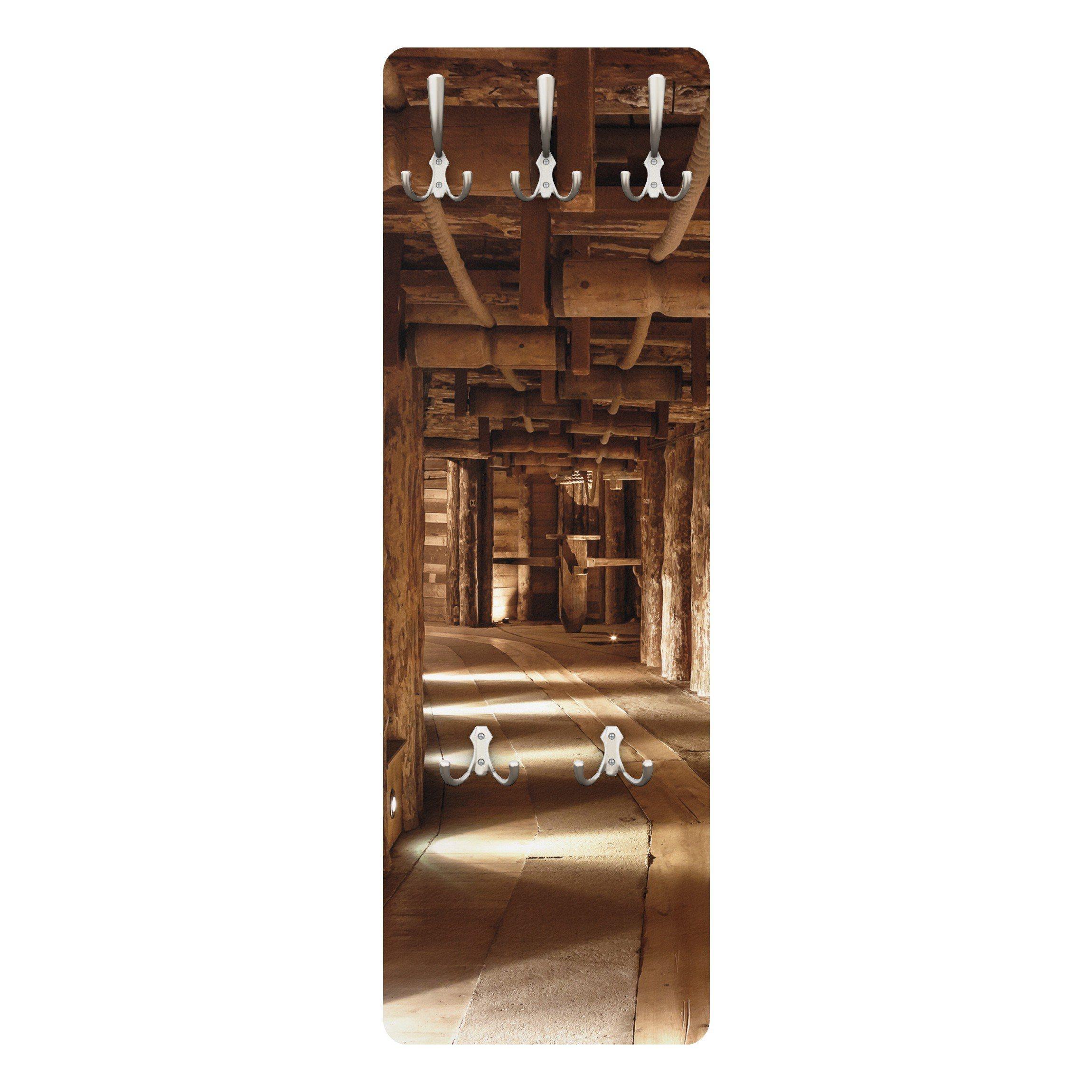 Bilderwelten Wandgarderobe 139x46x2cm »Alte Goldmine« | Flur & Diele > Garderoben > Garderobenhaken | Weiß - Matt | Holz - Faserplatte - Metall | Bilderwelten
