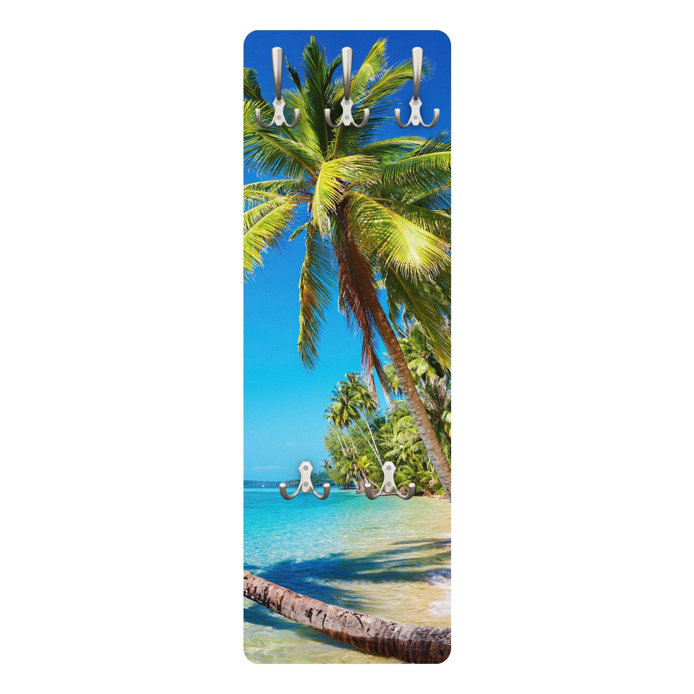 Bilderwelten Wandgarderobe 139x46x2cm »Beach of Thailand« | Flur & Diele > Garderoben > Garderobenhaken | Weiß - Matt | Holz - Faserplatte - Metall | Bilderwelten
