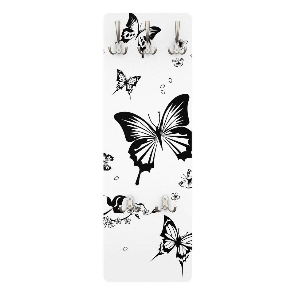 Bilderwelten Kindergarderobe 139x46x2cm »Blumen und Schmetterlinge« in Farbig