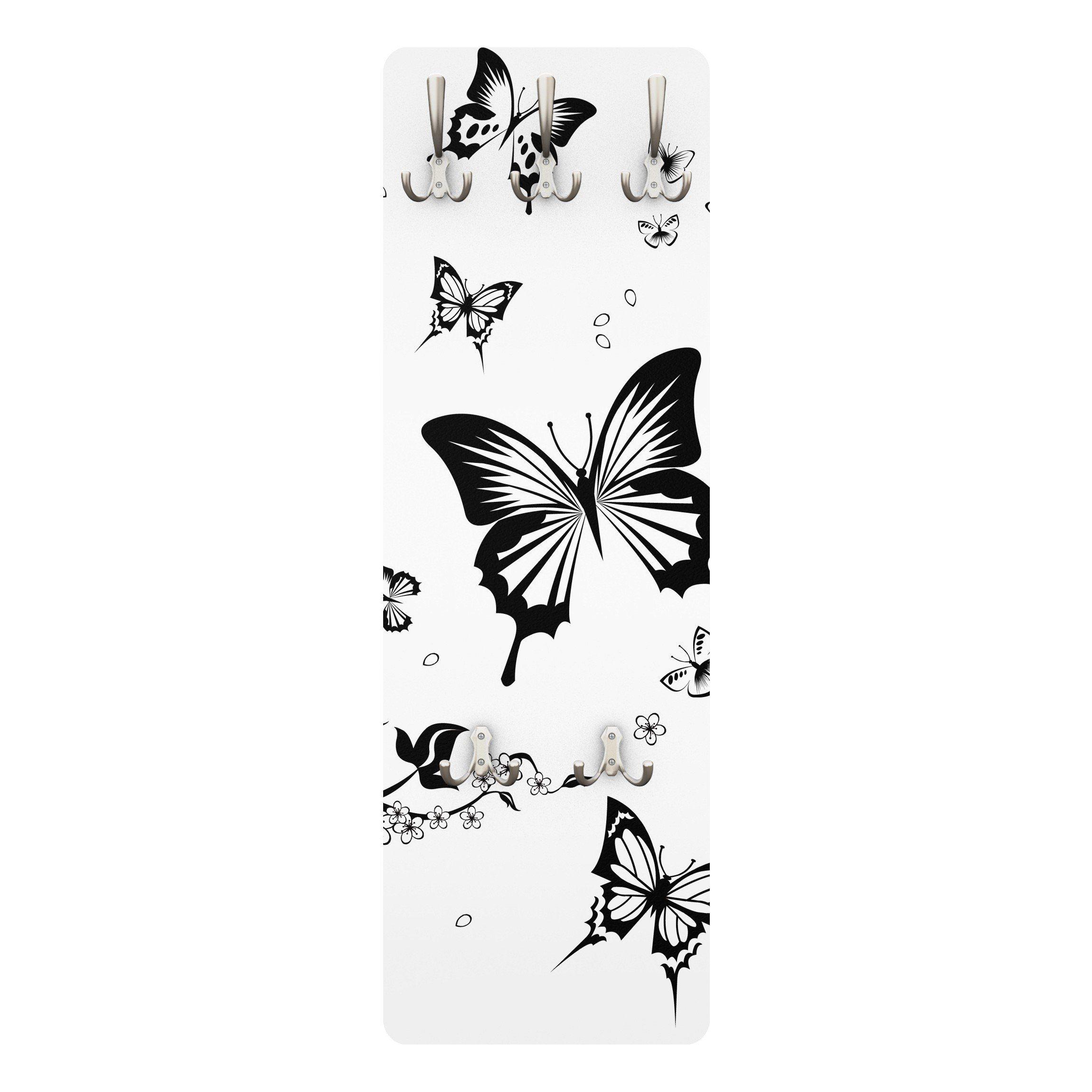 Bilderwelten Kindergarderobe 139x46x2cm »Blumen und Schmetterlinge«