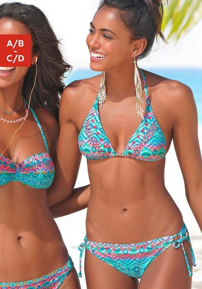 Damen Buffalo Triangel-Bikini mit Zierperlen blau | 04893848549758