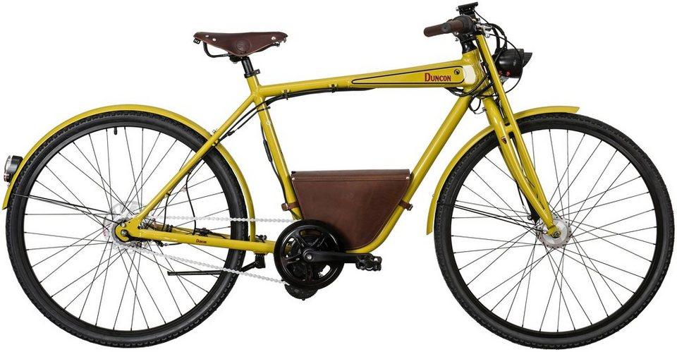 E-Bike City Herren »Duncon«, 28 Zoll, 7 Gang, Mittelmotor, 241 Wh in grün