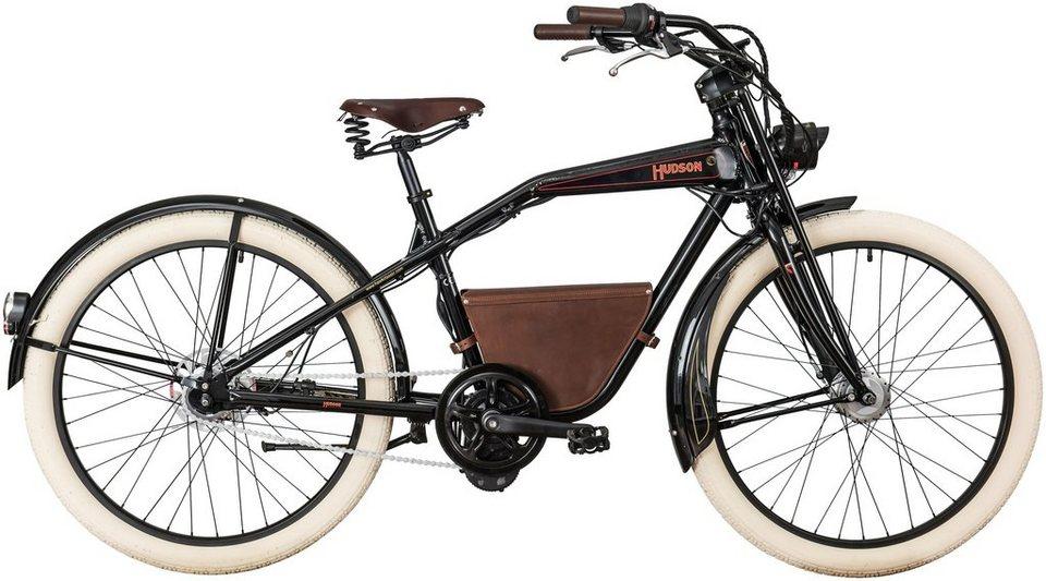 E-Bike City Herren »Hudson«, 26 Zoll, 7 Gang, Mittelmotor, 241 Wh in schwarz