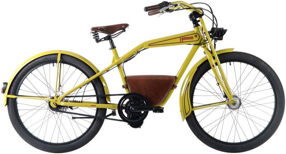 E-Bike City Herren »Hudson«, 26 Zoll, 7 Gang, Mittelmotor, 241 Wh in grün