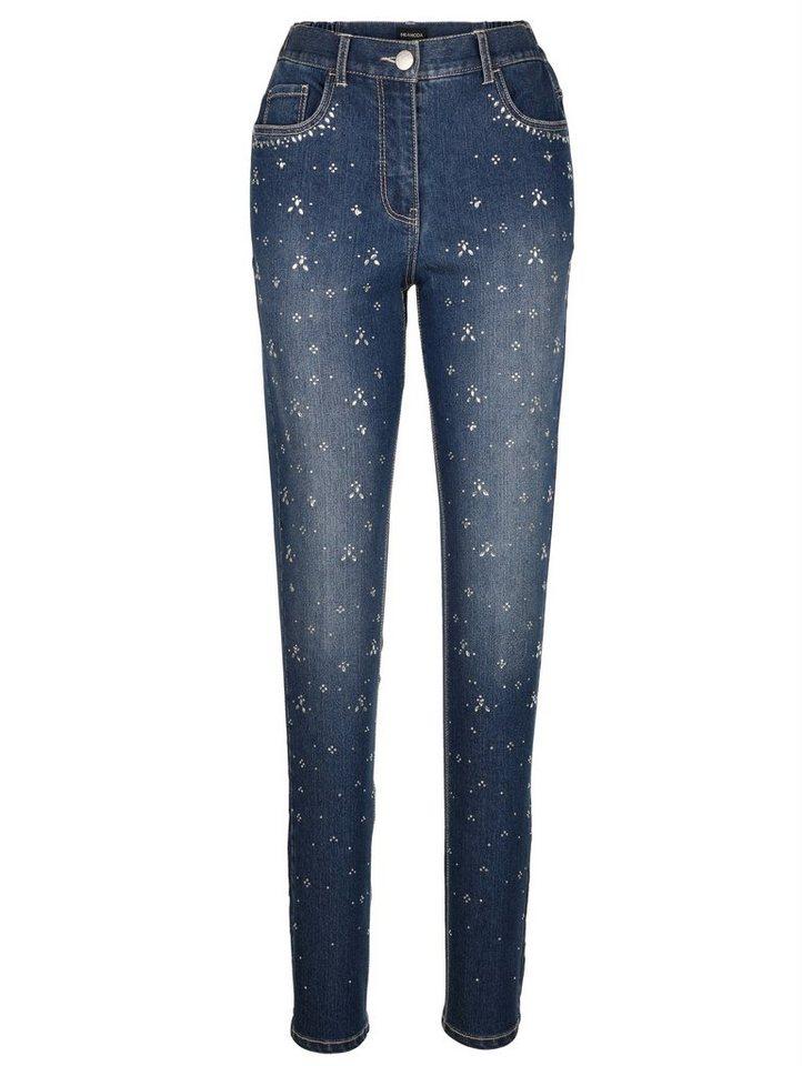 MIAMODA Jeans mit Dekosteinen in blue stone
