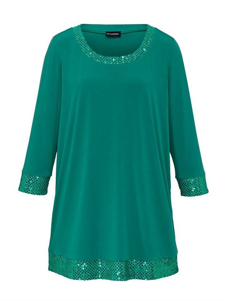 MIAMODA Shirt mit Pailletten in grün