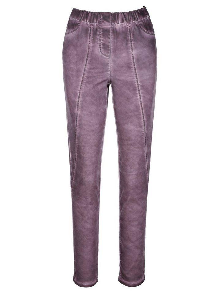 MIAMODA Hose in leicht ausgewaschener Optik in lila