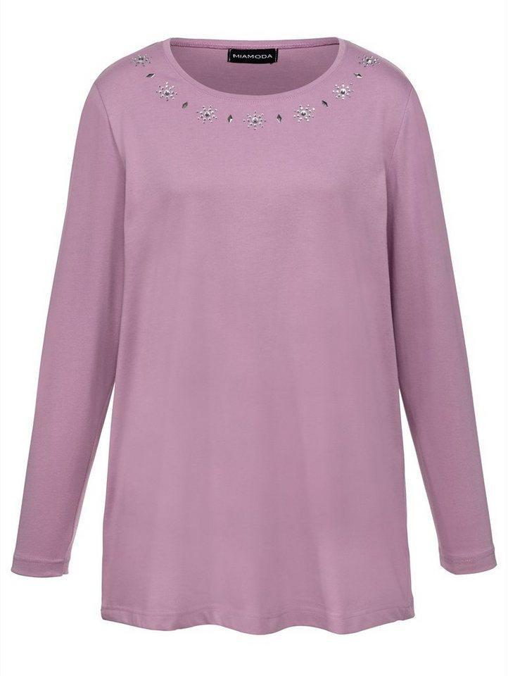 MIAMODA Shirt mit schmückenden Dekosteinen in rosé