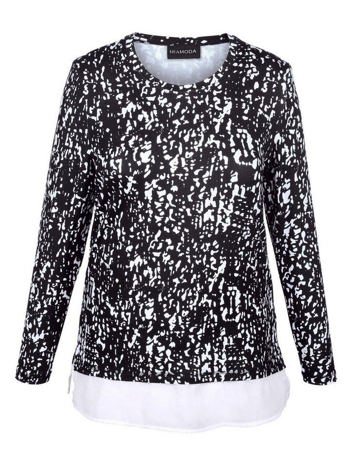 MIAMODA Longshirt in schwarz/weiß