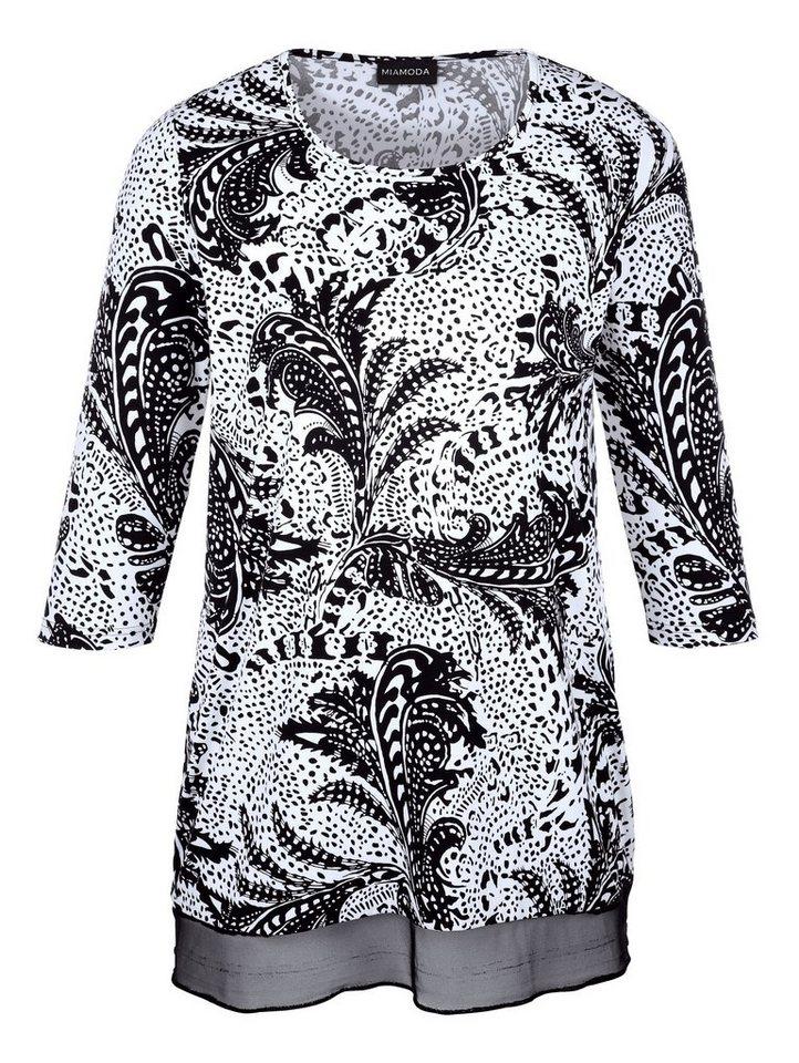 MIAMODA Longshirt in weiß/schwarz