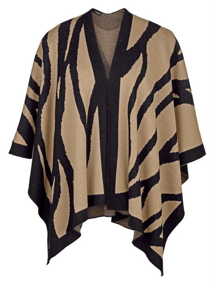 MIAMODA Cape Mit Zebramuster in camel/schwarz