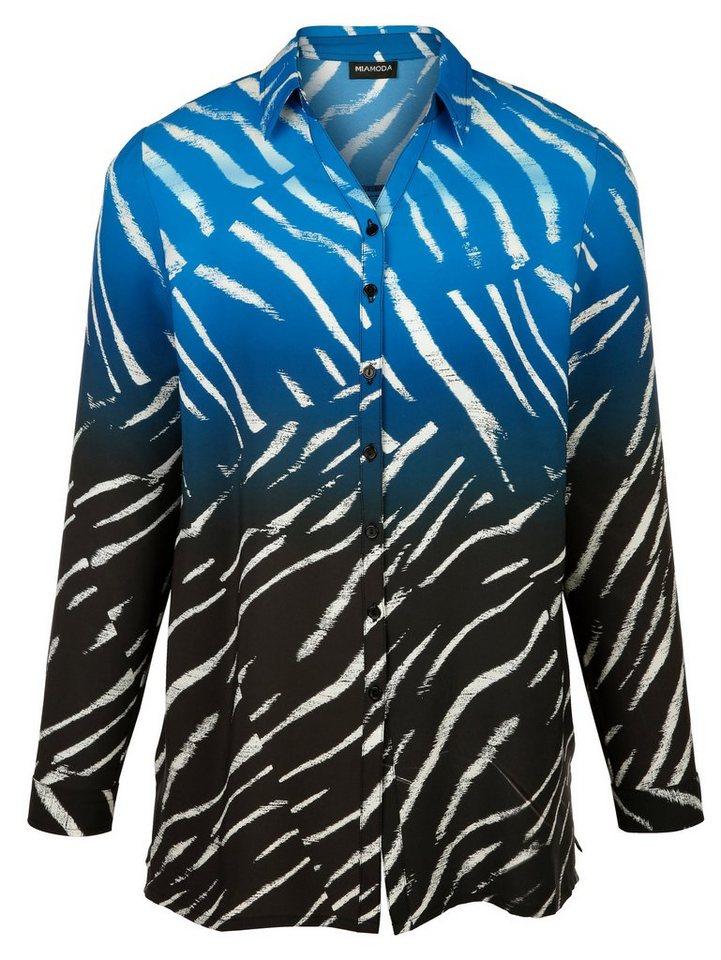 MIAMODA Bluse mit Zebramuster in schwarz/royal