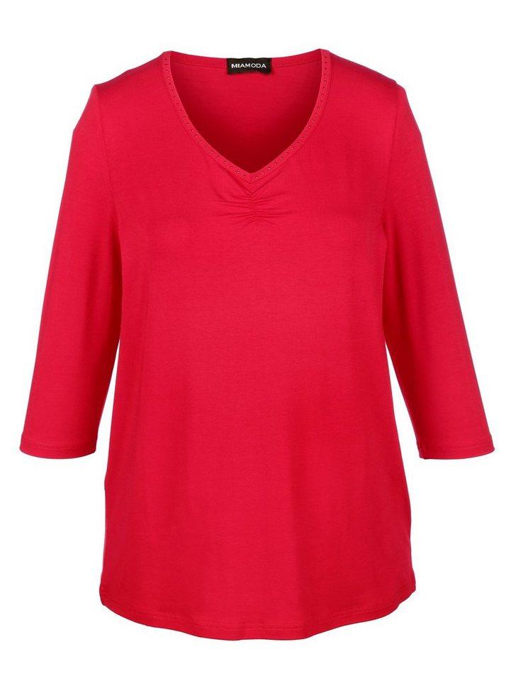 MIAMODA Shirt mit Dekosteinchen in rot