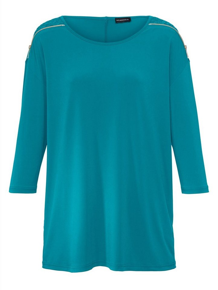 MIAMODA Shirt mit Spitze in jade