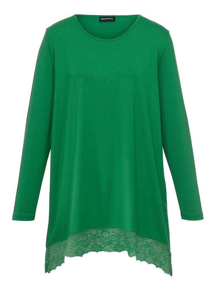 MIAMODA Zipfelshirt mit modischem Zipfelsaum in grün