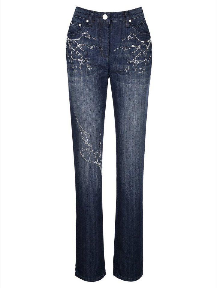 MIAMODA Jeans mit Dekosteinchen in blue black
