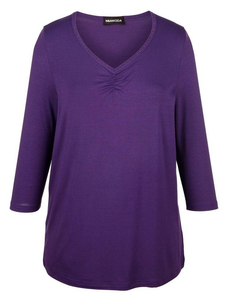 MIAMODA Shirt mit Dekosteinchen in lila