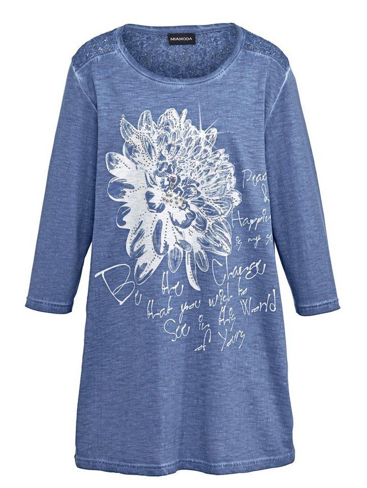 MIAMODA Longshirt mit Schriftzug in jeansblau