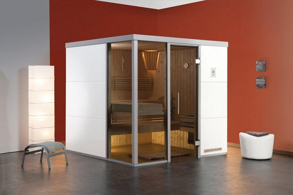 Sauna »Bianco OS«, 217/183/206 cm, 68 mm, 7,5-KW-Ofen, Fenster links in weiß