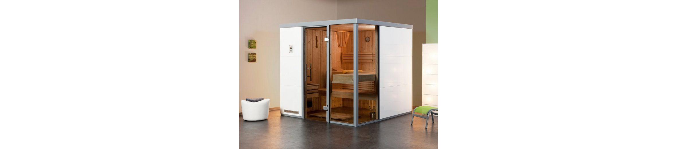 Sauna »Bianco OS«, 217/183/206 cm, 68 mm, 7,5-KW-Ofen