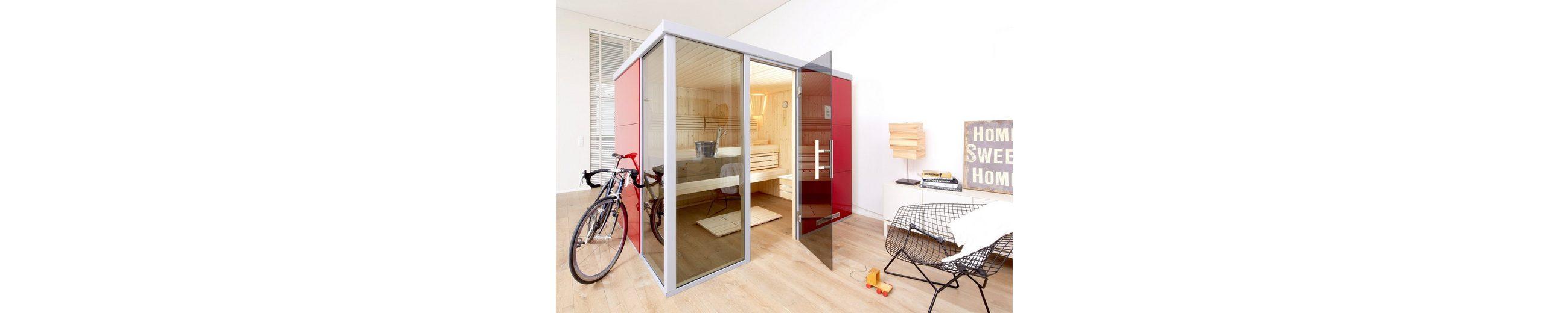 Sauna »Rosso BioS«, 217/183/206 cm, 7,5-KW-Bio-Kombiofen