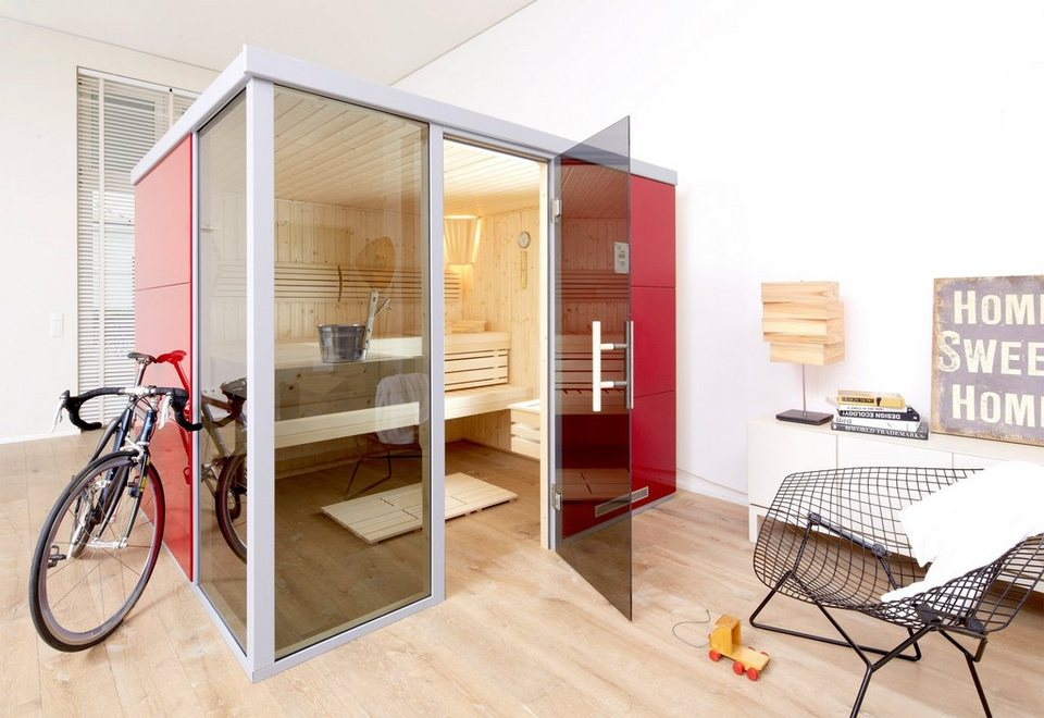 Sauna »Rosso OS«, 217/183/206 cm, 68 mm, 7,5-KW-Ofen, Fenster links in rot