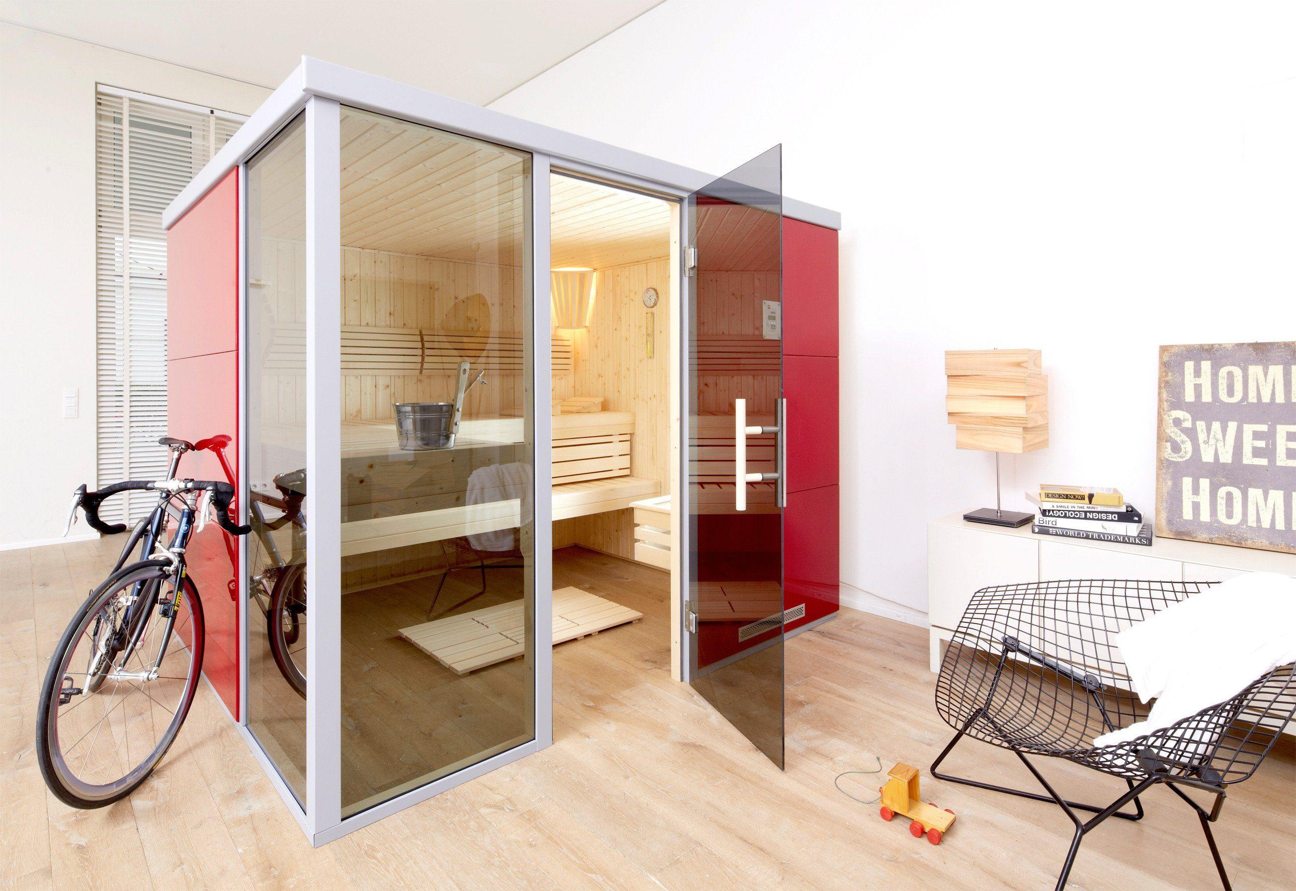 Weka Sauna »Rosso OS«, 217/183/206 cm, 68 mm, 7,5-KW-Ofen, Fenster links