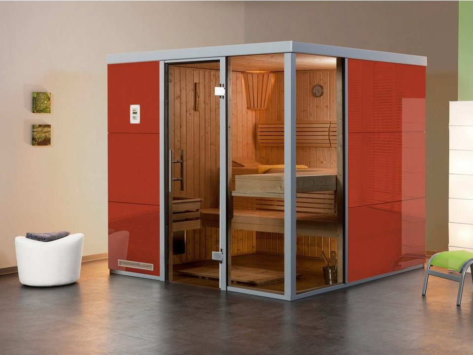 Sauna »Rosso OS«, 217/183/206 cm, 68 mm, 7,5-KW-Ofen in rot