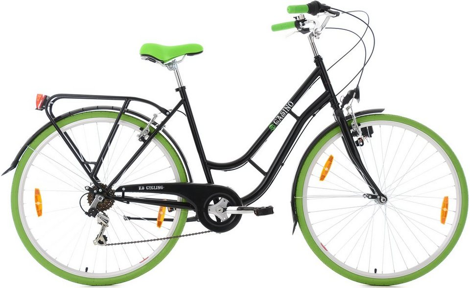 KS Cycling Damen-Cityrad, 28 Zoll, 6 Gang Shimano-Tourney-Kettenschaltung, »Casino« in schwarz-grün