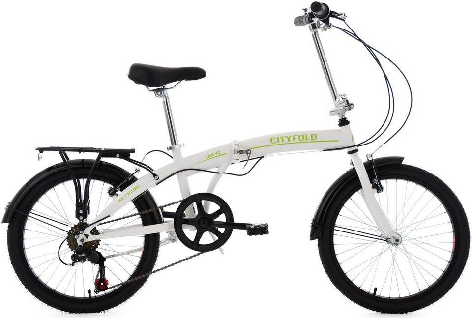 KS Cycling Faltrad, 20 Zoll, 6 Gang Shimano-Tourney-Kettenschaltung, »Cityfold« in weiß-grün
