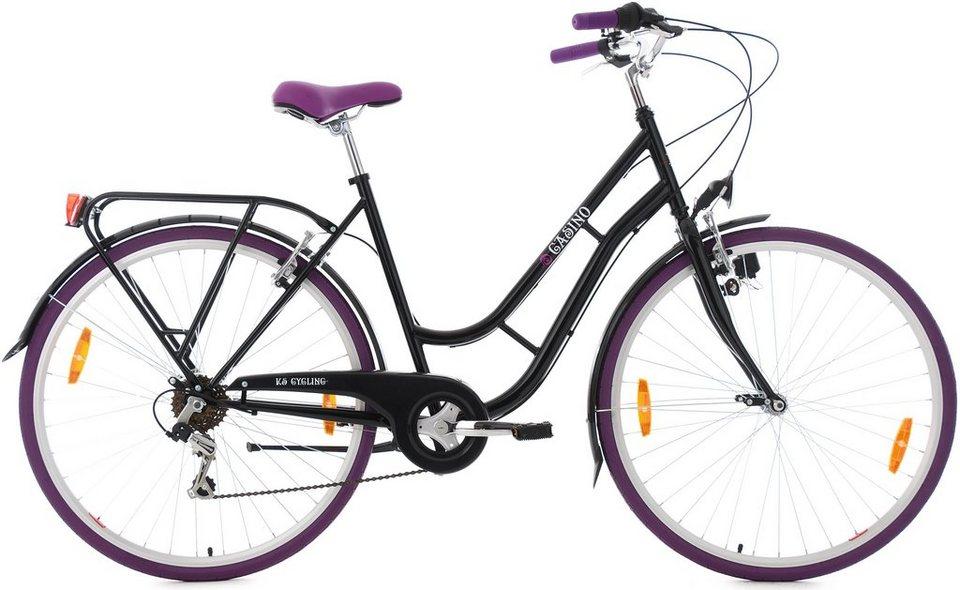 KS Cycling Damen-Cityrad, 28 Zoll, 6 Gang Shimano-Tourney-Kettenschaltung, »Casino« in schwarz-lila